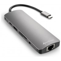 HUB USB SHARKOON 3X3.0 TIPO C,RJ45 LECTOR TARJETAS,HDMI GRIS