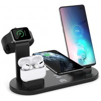 Base Cargador Inalámbrico + 4 Salidas Smartphone/Smartwatch  360º Negro (Espera 2 dias)