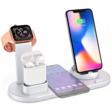 Base Cargador Inalámbrico + 4 Salidas Smartphone/Smartwatch 360º Plata (Espera 2 dias)