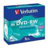 DVD-RW 4x Verbatim Caja Jewel 5 unds