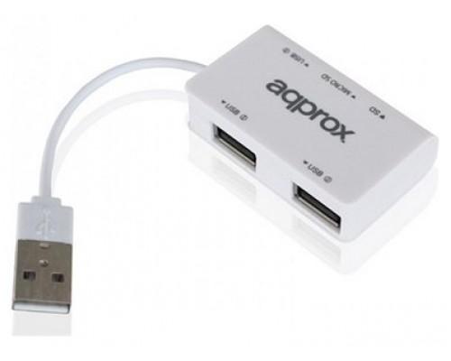 approx APPHT8B Hub 3 usb 2.0+Lec.SD/MicroSD Blanco