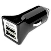 CARGADOR APPROX PARA COCHE 2 USB 5V/3,1 AH COLOR NEGRO