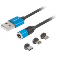 CABLE LANBERG 3EN1 USB 2.0 USB-C,MUSB ,LIGHTNING,QCHARGE 3.0 MAGNETICO AZUL 1M