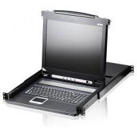 ATEN Consola LCD single rail con switch KVM integrado VGA PS/2-USB de 16 puertos (Espera 4 dias)