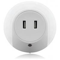 Enchufe Punto Luz LED Cálida con Sensor + 2 Puertos Carga USB (Espera 2 dias)