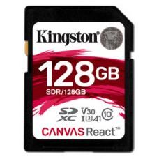 KINGSTON 128GB SDXC CANVAS REACT 100R/80W CL10 UHS-I U3 V30 A1