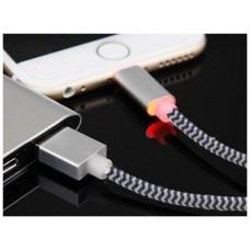 Bluestork SMART-LI-LED 1.2m USB A Lightning Negro, Plata cable de teléfono móvil