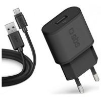 KIT CARGADOR PARED SBS USB 100/250V 1000 mAh CON CABLE USB A MICRO-USB 2.0