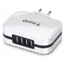 CARGADOR  USB TOOQ PARED TQWC-1S04T 4xUSB 6.8 A(TOTAL)
