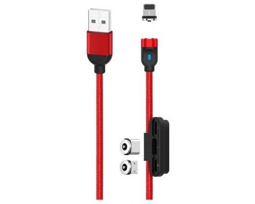 Cable NB128 Magnético 3 en 1 Micro USB + Tipo C + Lightning 1M Rojo XO (Espera 2 dias)