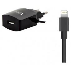 X-One cargador pared 1x USB 2.1 + 1x Lightning Neg