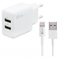 X-One Cargador Pared USB 2.4A +Cable Lightning MFI